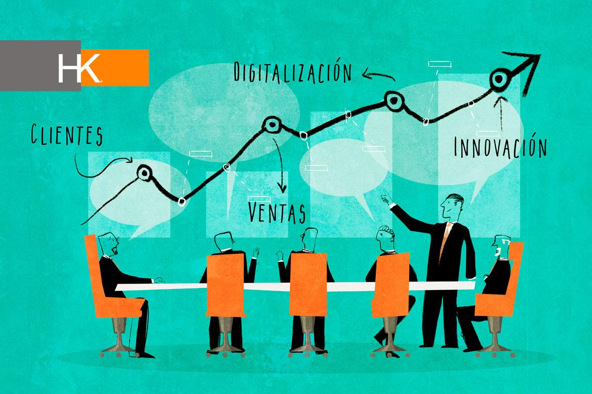 Innovación, Digitalización, Ventas y Clientes.