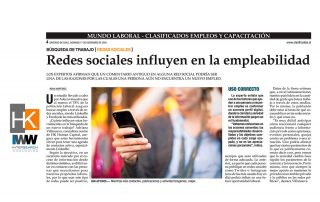 """""""Redes sociales influyen en la empleabilidad"""", El Mercurio, cuerpo Mundo Laboral, página 4, domingo 17 de noviembre de 2019."""